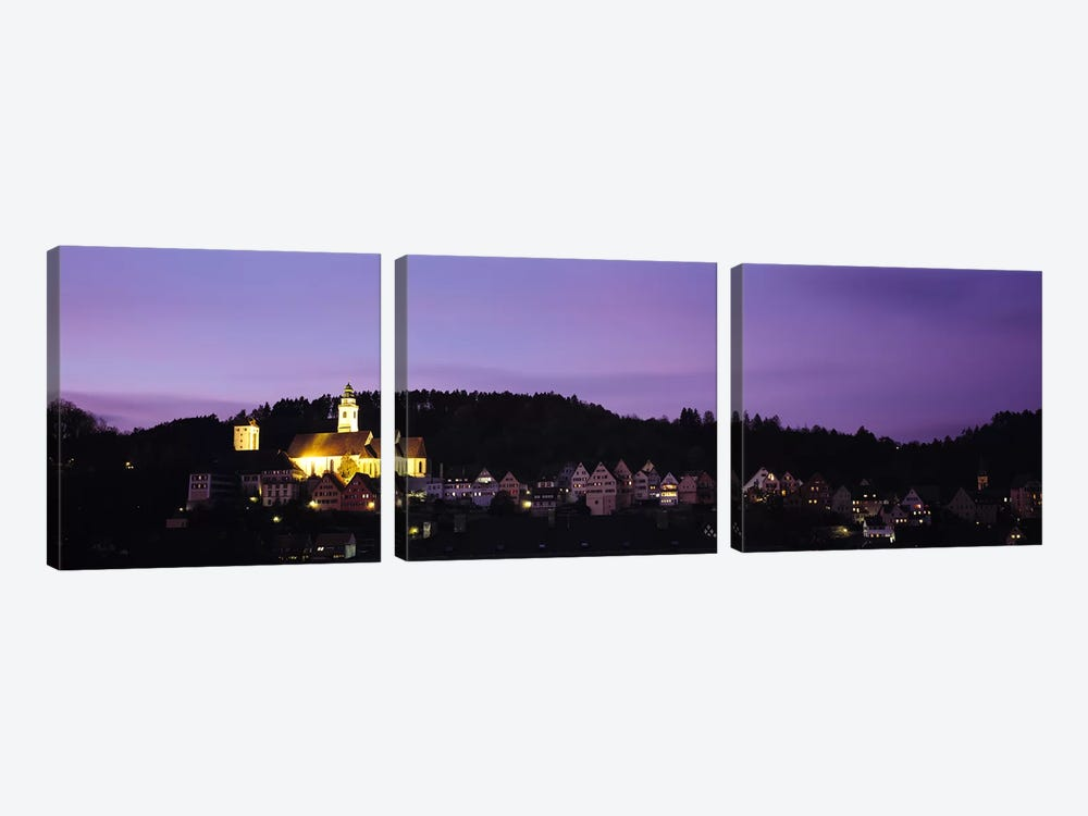 Church lit up at dusk in a town, Horb Am Neckar, Black Forest, Baden-Wurttemberg, Germany by Panoramic Images 3-piece Canvas Artwork