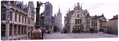 Tourists walking in front of a church, St. Nicolas Church, Ghent, Belgium Canvas Print #PIM6148