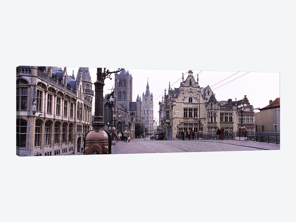Tourists walking in front of a church, St. Nicolas Church, Ghent, Belgium by Panoramic Images 1-piece Canvas Art Print