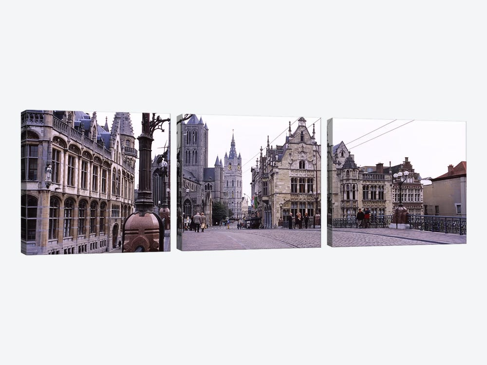Tourists walking in front of a church, St. Nicolas Church, Ghent, Belgium by Panoramic Images 3-piece Canvas Art Print