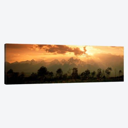 Dawn Teton Range Grand Teton National Park WY USA Canvas Print #PIM614} by Panoramic Images Canvas Wall Art