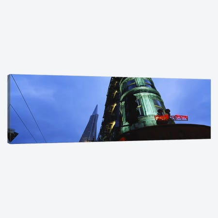 Low angle view of a building, Sentinel Building, Transamerica Pyramid, San Francisco, California, USA Canvas Print #PIM6150} by Panoramic Images Canvas Artwork
