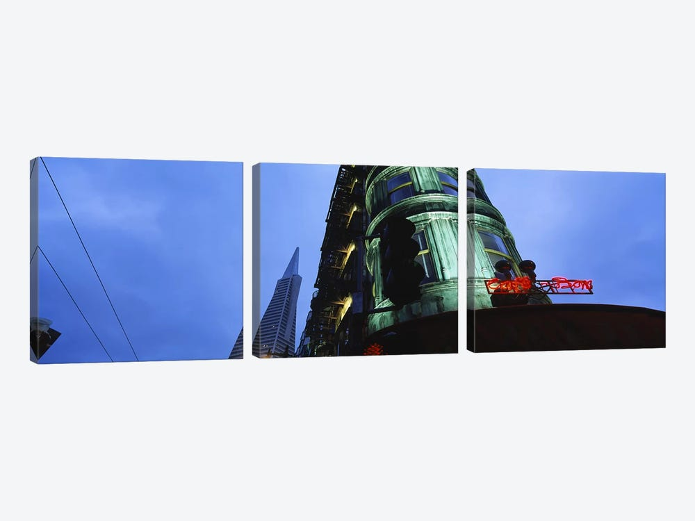 Low angle view of a building, Sentinel Building, Transamerica Pyramid, San Francisco, California, USA by Panoramic Images 3-piece Canvas Wall Art