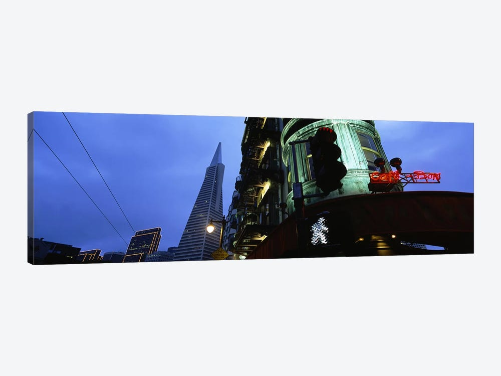 Low angle view of a building, Sentinel Building, Transamerica Pyramid, San Francisco, California, USA #2 by Panoramic Images 1-piece Canvas Art Print