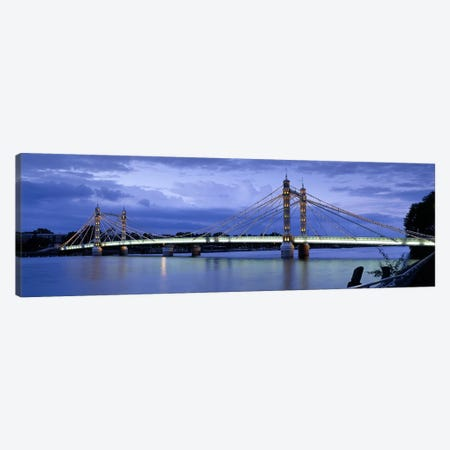 Suspension bridge across a river, Thames River, Albert Bridge, London, England Canvas Print #PIM6154} by Panoramic Images Canvas Print