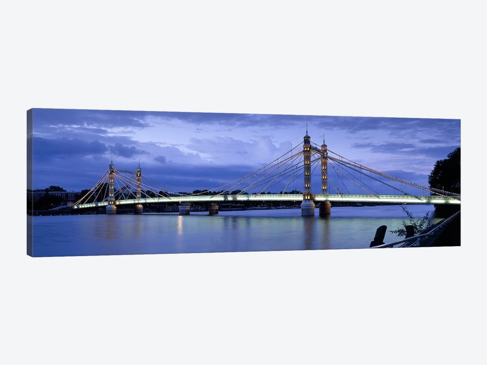 Suspension bridge across a river, Thames River, Albert Bridge, London, England by Panoramic Images 1-piece Canvas Art