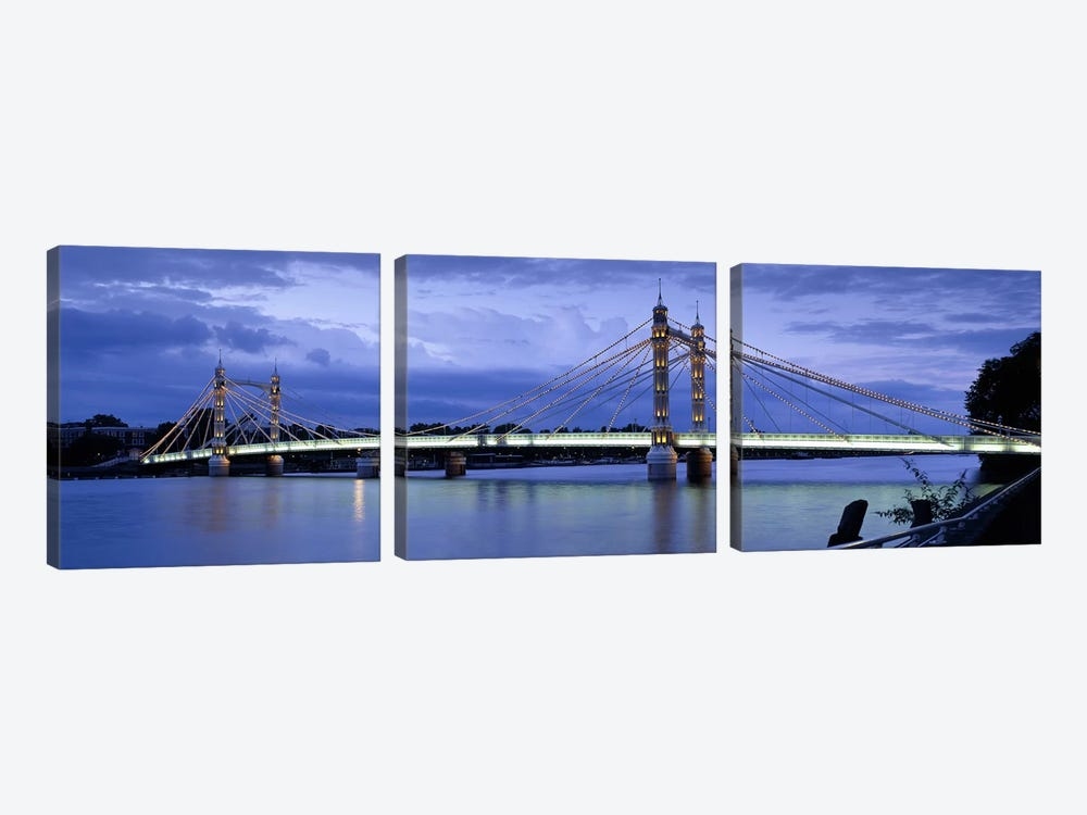 Suspension bridge across a river, Thames River, Albert Bridge, London, England by Panoramic Images 3-piece Canvas Wall Art