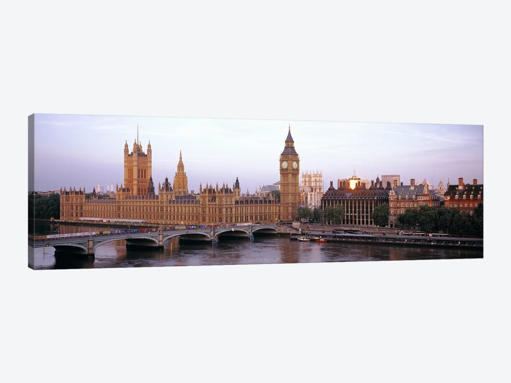 Palace Of Westminster & Westminster Bridge, City Of Westminster, London, England, United Kingdom by Panoramic Images 1-piece Canvas Wall Art