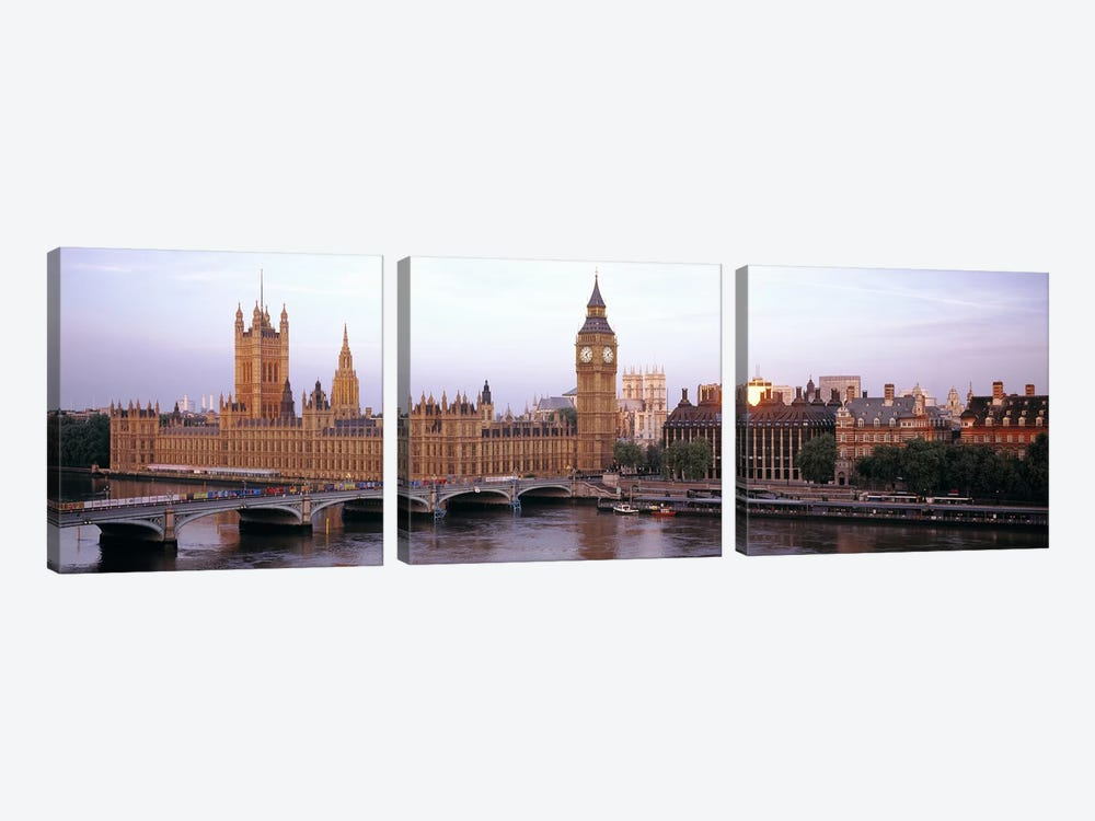 Palace Of Westminster & Westminster Bridge, City Of Westminster, London, England, United Kingdom by Panoramic Images 3-piece Canvas Artwork