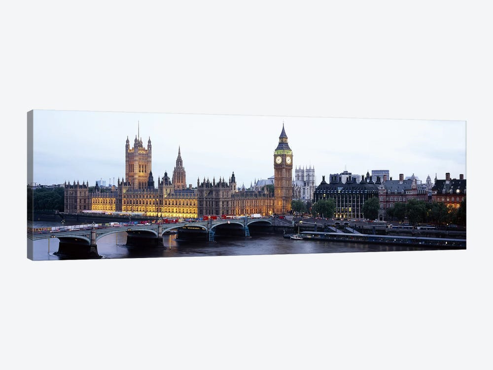 Palace Of Westminster & Westminster Bridge At Twilight, City Of Westminster, London, England, United Kingdom by Panoramic Images 1-piece Canvas Print