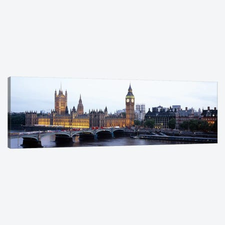 Palace Of Westminster & Westminster Bridge At Twilight, City Of Westminster, London, England, United Kingdom Canvas Print #PIM6159} by Panoramic Images Canvas Art