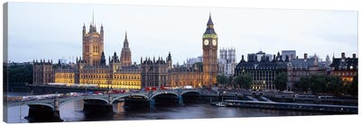 Palace Of Westminster & Westminster Bridge At Twilight, City Of Westminster, London, England, United Kingdom Canvas Print #PIM6159