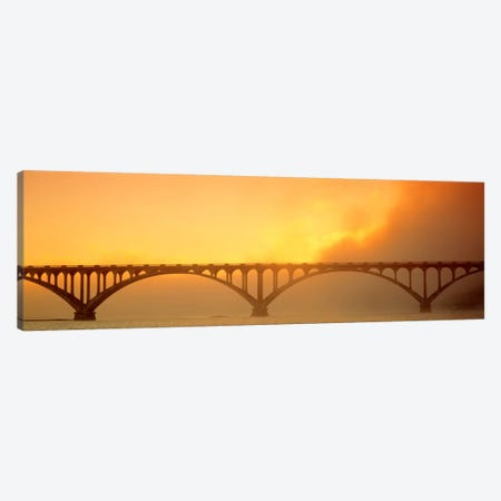 Sunset Fog And Highway 101 Bridge CA Canvas Print #PIM615} by Panoramic Images Canvas Wall Art