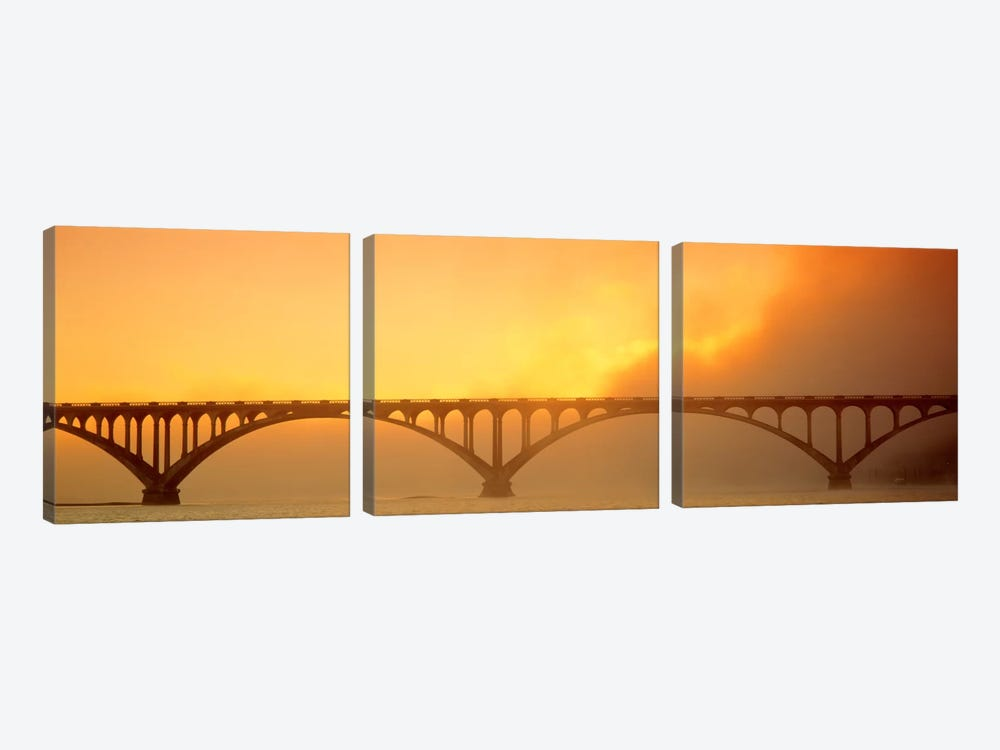 Sunset Fog And Highway 101 Bridge CA by Panoramic Images 3-piece Canvas Art