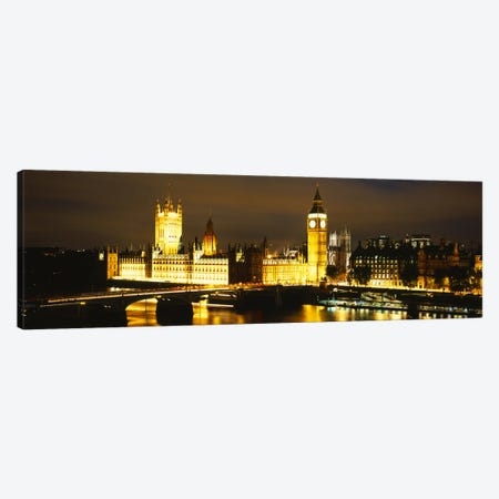 Palace Of Westminster At Night, City Of Westminster, London, England Canvas Print #PIM6160} by Panoramic Images Canvas Art Print