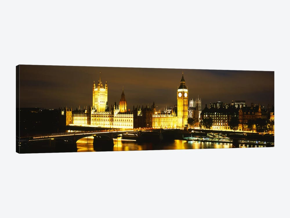 Palace Of Westminster At Night, City Of Westminster, London, England by Panoramic Images 1-piece Canvas Print
