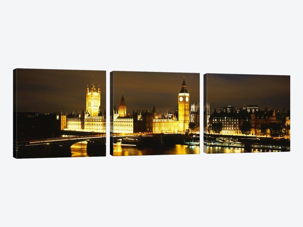 Palace Of Westminster At Night, City Of Westminster, London, England by Panoramic Images 3-piece Art Print