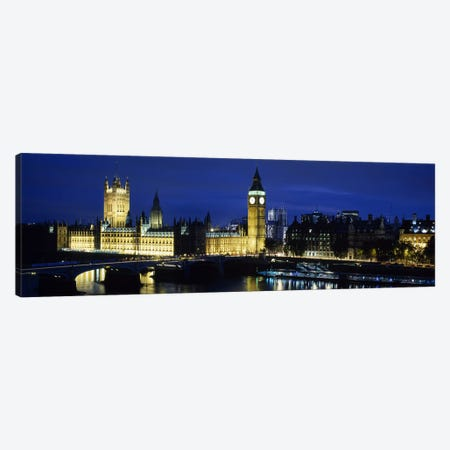 Evening Illumination, Palace Of Westminster, London, England Canvas Print #PIM6161} by Panoramic Images Art Print
