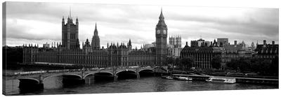 Bridge across a river, Westminster Bridge, Big Ben, Houses of Parliament, City Of Westminster, London, England Canvas Art Print