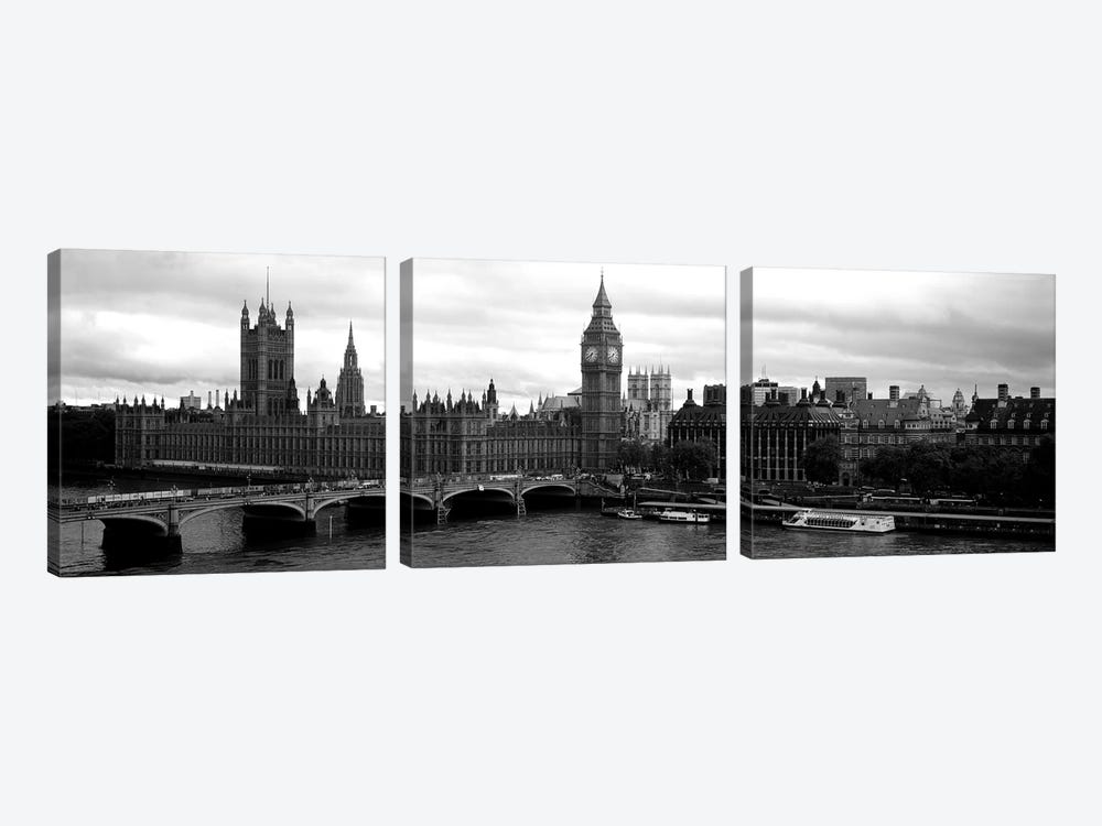 Bridge across a river, Westminster Bridge, Big Ben, Houses of Parliament, City Of Westminster, London, England by Panoramic Images 3-piece Canvas Art Print