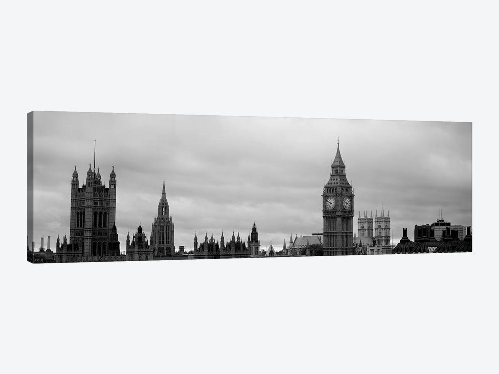 Gothic Architecture In B&W, City Of Westminster, London, England by Panoramic Images 1-piece Canvas Artwork