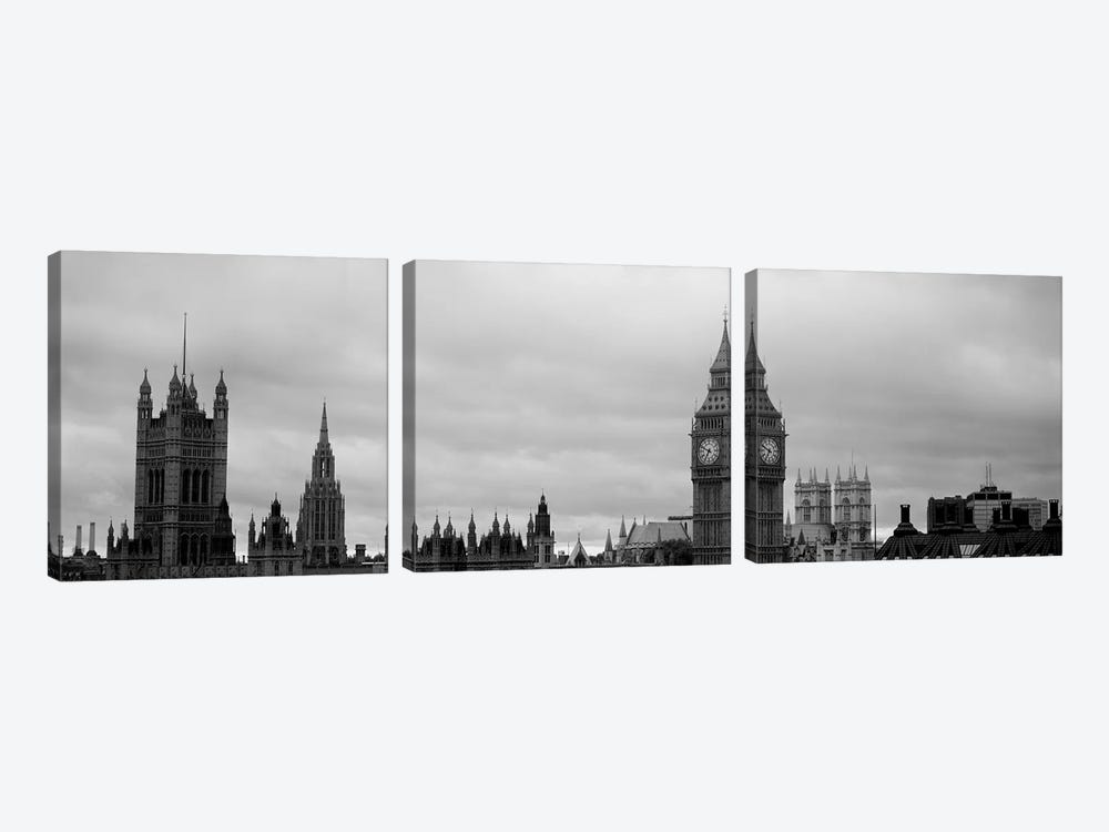 Gothic Architecture In B&W, City Of Westminster, London, England by Panoramic Images 3-piece Canvas Art