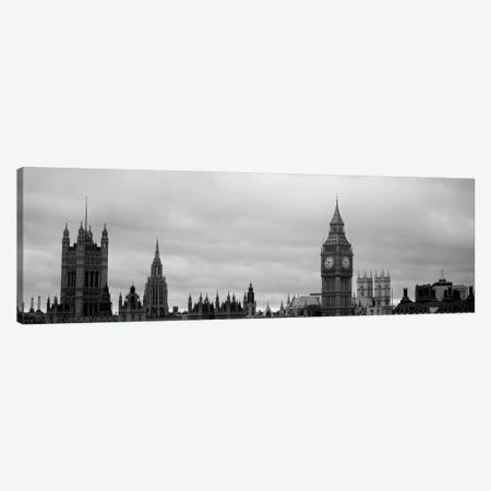 Gothic Architecture In B&W, City Of Westminster, London, England 3-Piece Canvas #PIM6163} by Panoramic Images Art Print