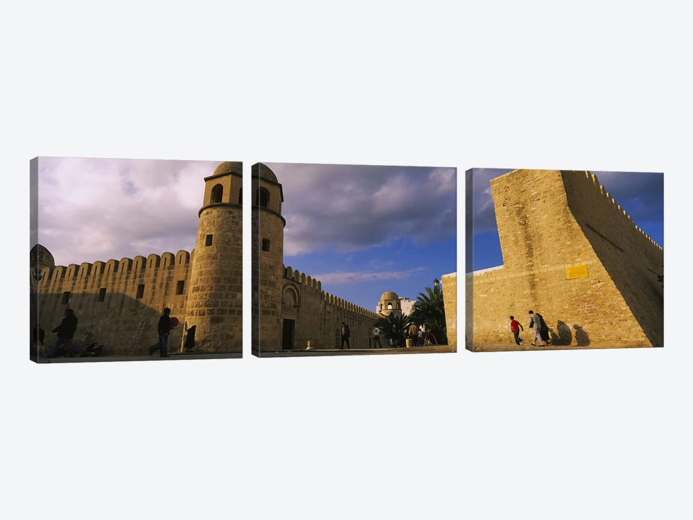 Group of people at a mosque, Great Mosque, Medina, Sousse, Tunisia by Panoramic Images 3-piece Canvas Print