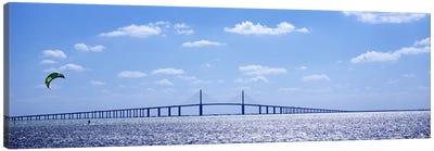 Bridge across a baySunshine Skyway Bridge, Tampa Bay, Florida, USA Canvas Art Print