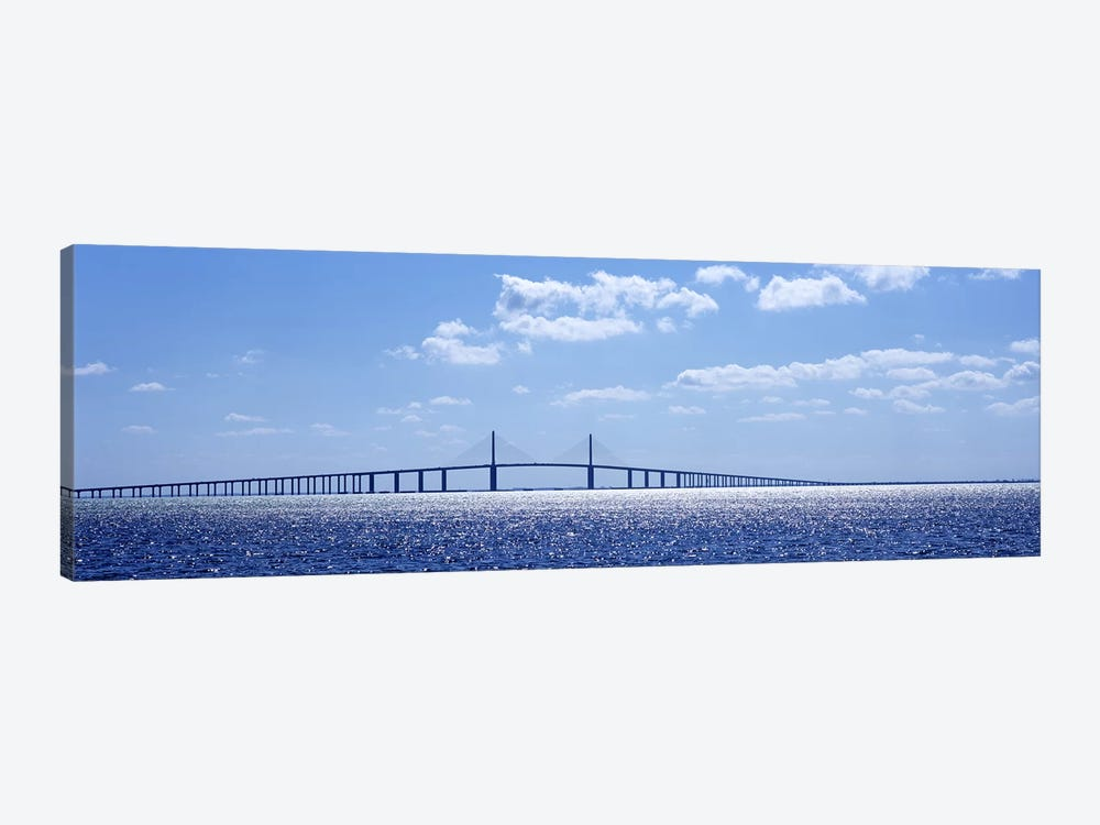 Bridge across a bay, Sunshine Skyway Bridge, Tampa Bay, Florida, USA by Panoramic Images 1-piece Canvas Wall Art
