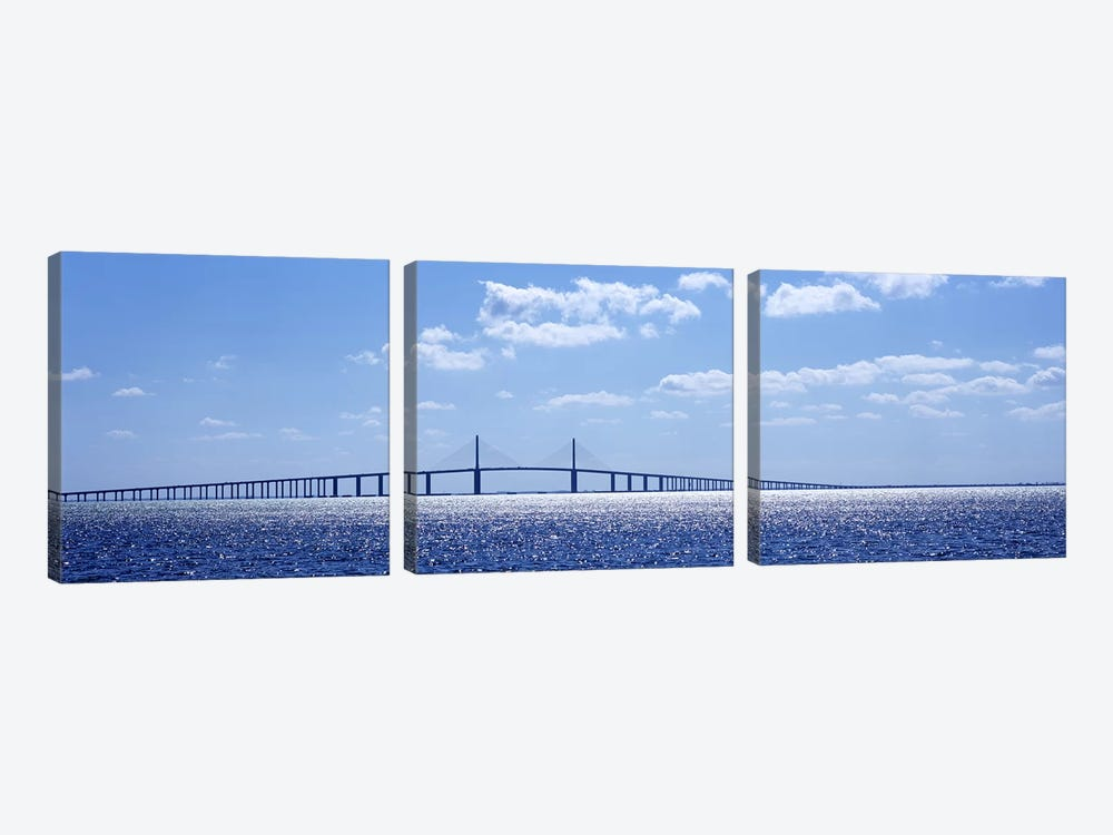 Bridge across a bay, Sunshine Skyway Bridge, Tampa Bay, Florida, USA by Panoramic Images 3-piece Canvas Artwork