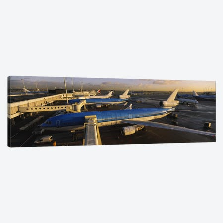 Docked Jetliners, Amsterdam Airport Schiphol, North Holland, Netherlands Canvas Print #PIM6192} by Panoramic Images Canvas Wall Art