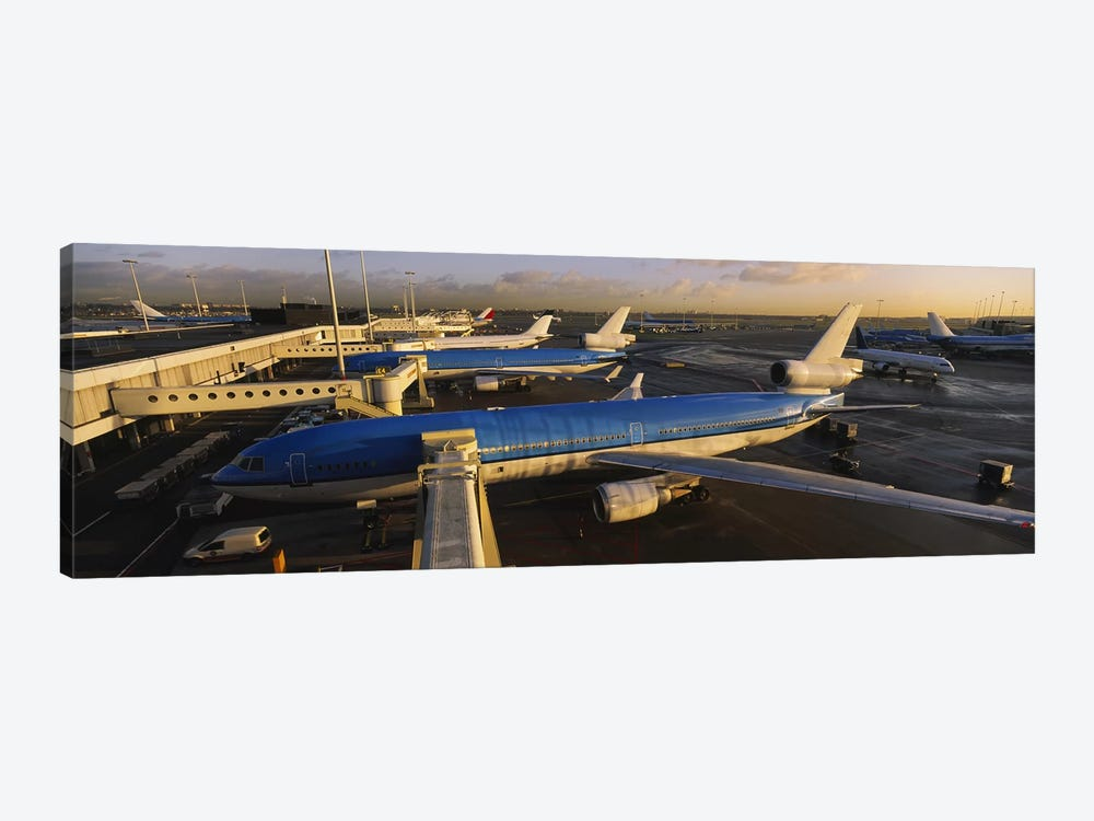 Docked Jetliners, Amsterdam Airport Schiphol, North Holland, Netherlands by Panoramic Images 1-piece Canvas Artwork