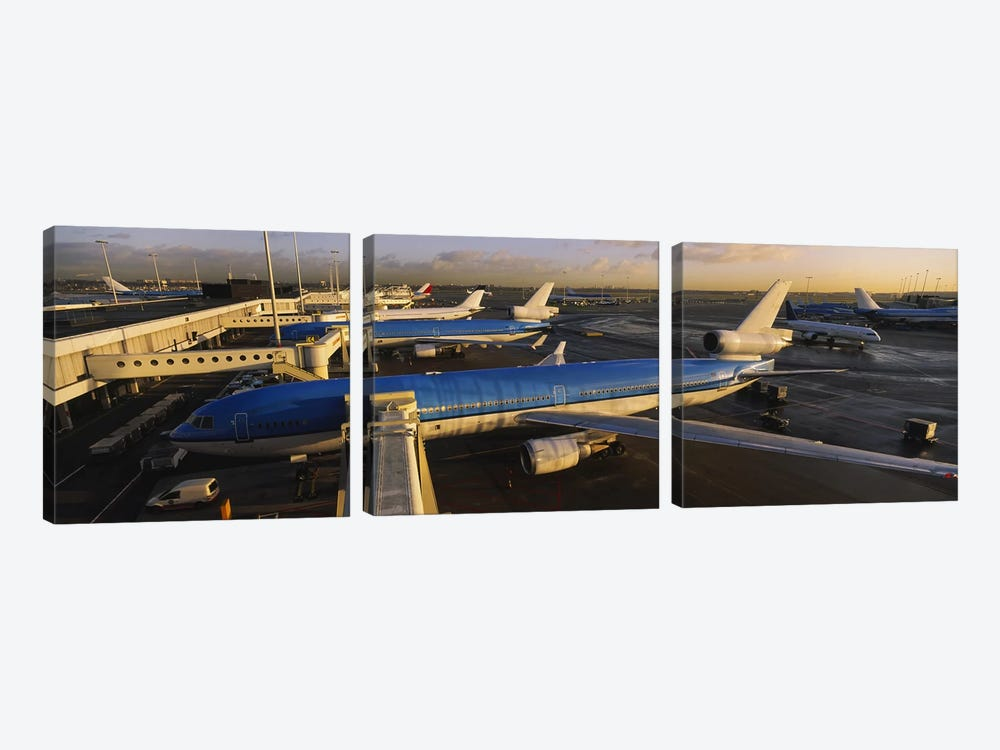 Docked Jetliners, Amsterdam Airport Schiphol, North Holland, Netherlands by Panoramic Images 3-piece Canvas Art