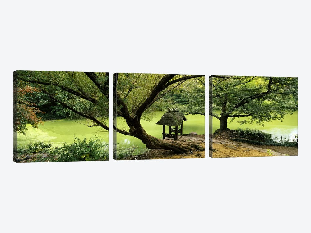 Rustic Gazebo, Wagner Cove, Central Park, New York City, New York, USA by Panoramic Images 3-piece Canvas Art