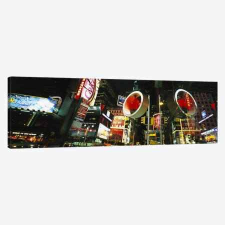 Low angle view of buildings lit up at night, Times Square, Manhattan, New York City, New York State, USA Canvas Print #PIM6195} by Panoramic Images Canvas Art Print