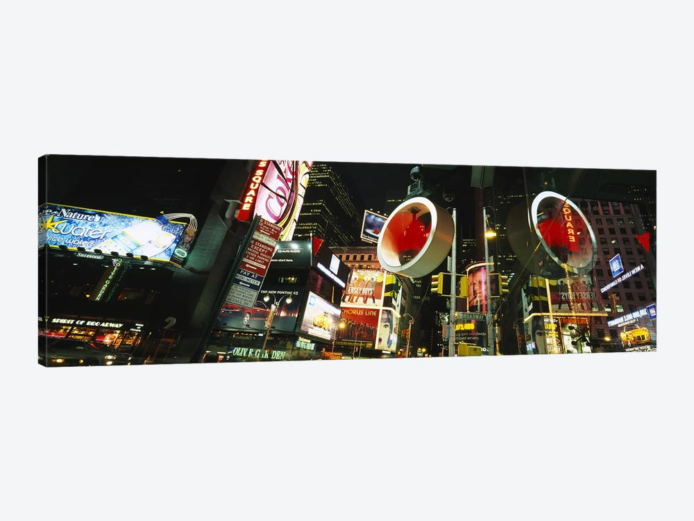 Low angle view of buildings lit up at night, Times Square, Manhattan, New York City, New York State, USA by Panoramic Images 1-piece Canvas Print