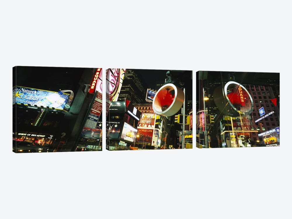 Low angle view of buildings lit up at night, Times Square, Manhattan, New York City, New York State, USA by Panoramic Images 3-piece Art Print