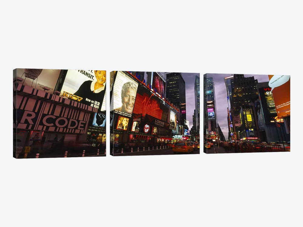 Buildings lit up at night, Times Square, Manhattan, New York City, New York State, USA by Panoramic Images 3-piece Canvas Wall Art