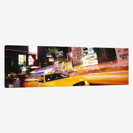 Yellow Taxi Motion Blur, Times Square, Manhattan, New York City, New York, USA Canvas Print #PIM6197} by Panoramic Images Canvas Print