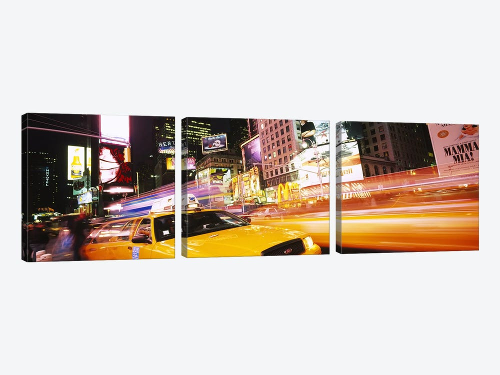 Yellow Taxi Motion Blur, Times Square, Manhattan, New York City, New York, USA by Panoramic Images 3-piece Canvas Art Print