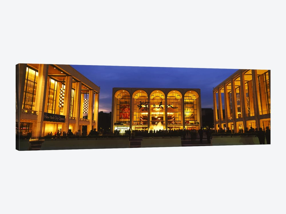 Entertainment building lit up at night, Lincoln Center, Manhattan, New York City, New York State, USA by Panoramic Images 1-piece Canvas Wall Art
