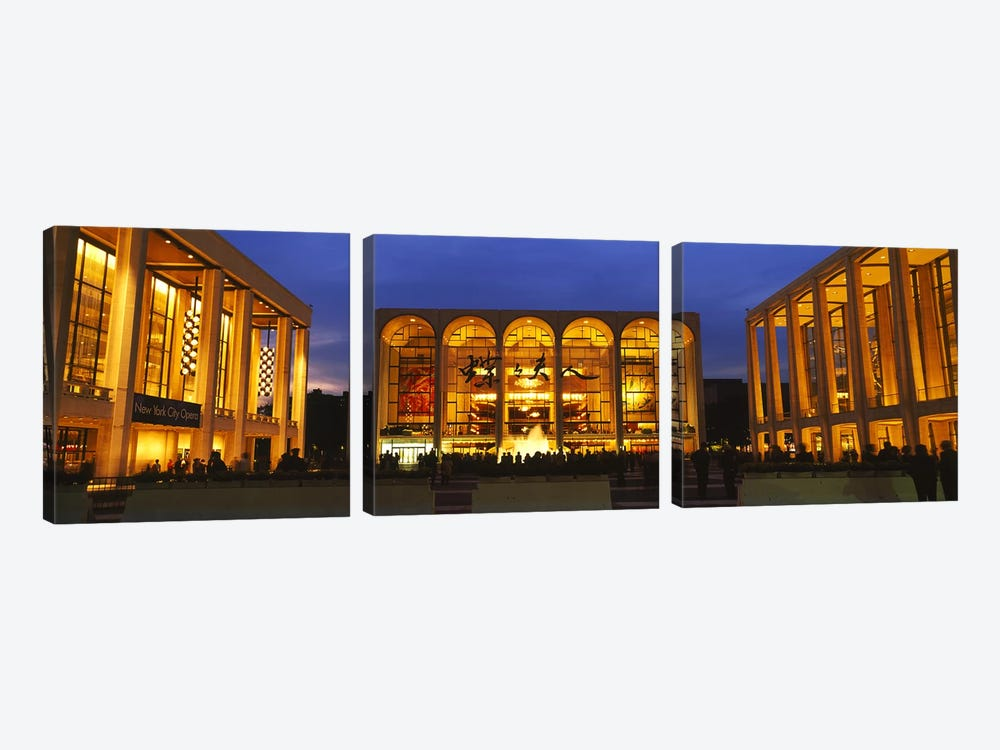 Entertainment building lit up at night, Lincoln Center, Manhattan, New York City, New York State, USA by Panoramic Images 3-piece Canvas Art