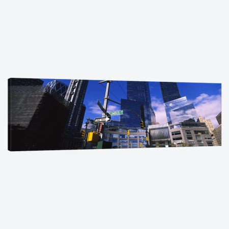 Low angle view of skyscrapers in a city, Columbus Circle, Manhattan, New York City, New York State, USA Canvas Print #PIM6201} by Panoramic Images Canvas Wall Art