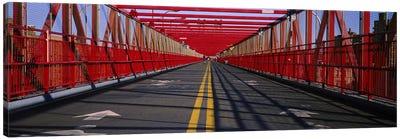 Arrow signs on a bridge, Williamsburg Bridge, New York City, New York State, USA Canvas Print #PIM6202