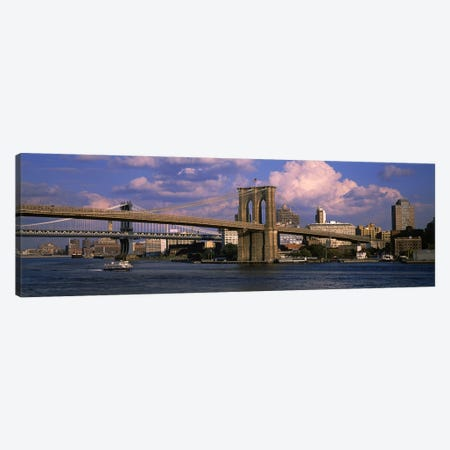 Boat in a riverBrooklyn Bridge, East River, New York City, New York State, USA Canvas Print #PIM6204} by Panoramic Images Art Print