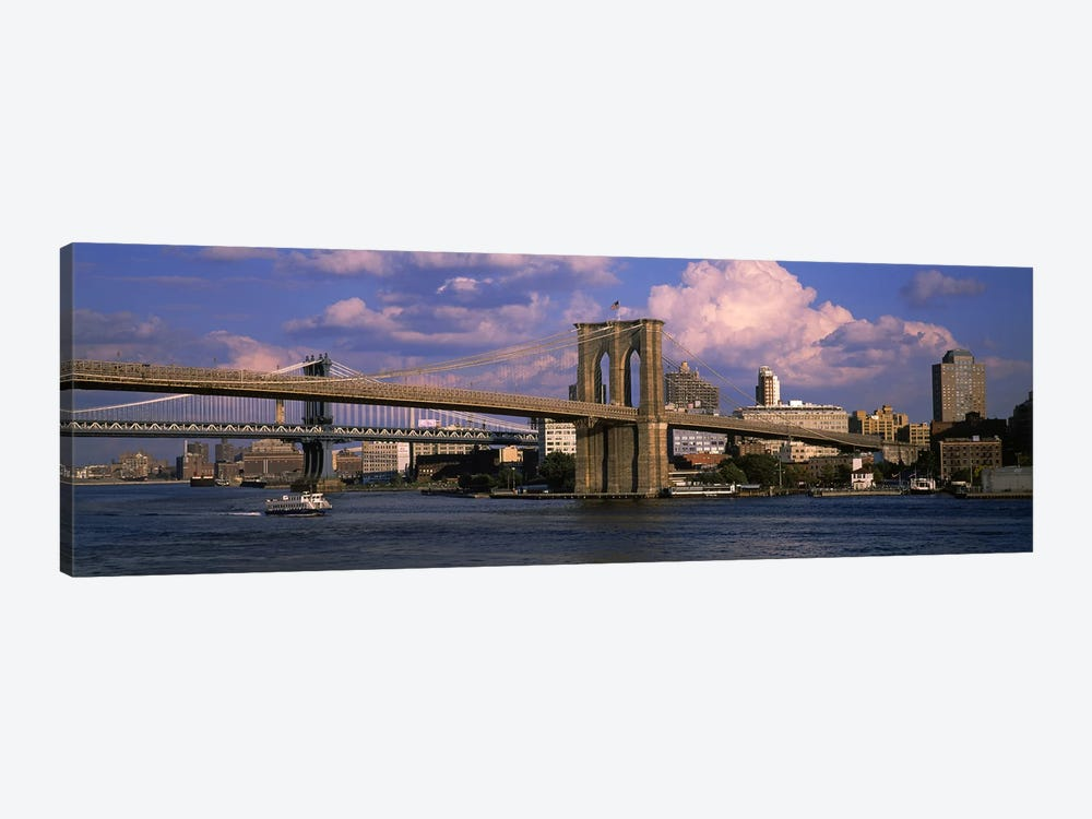 Boat in a riverBrooklyn Bridge, East River, New York City, New York State, USA by Panoramic Images 1-piece Canvas Art Print