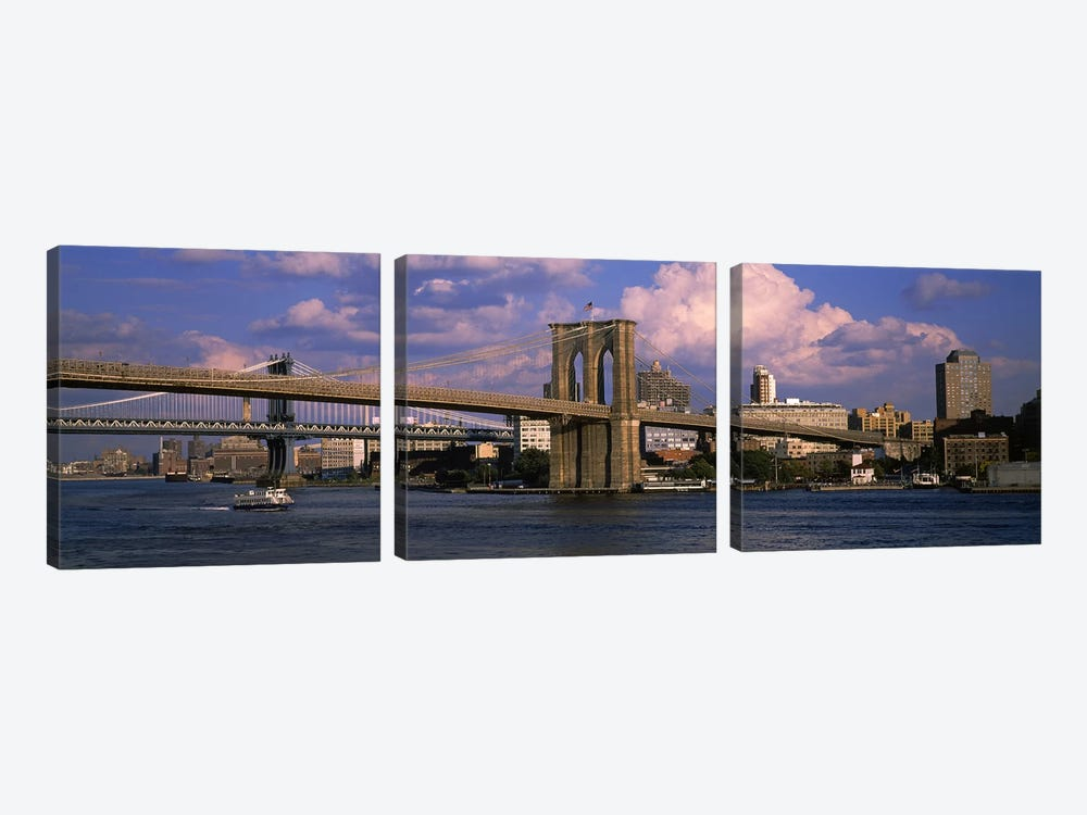 Boat in a riverBrooklyn Bridge, East River, New York City, New York State, USA by Panoramic Images 3-piece Canvas Print
