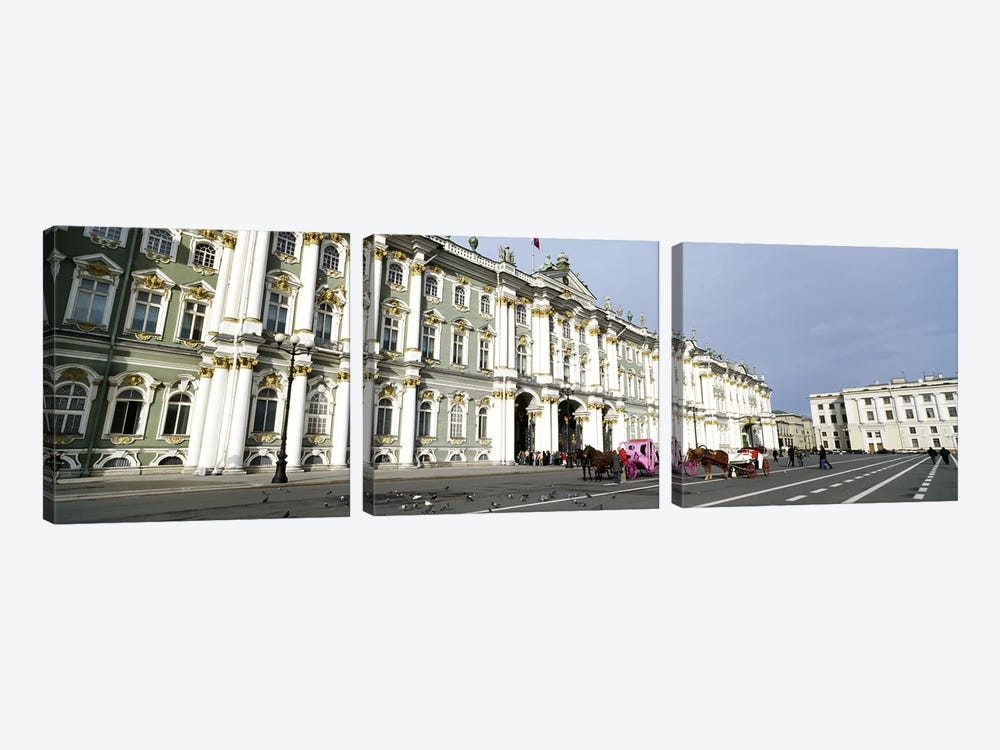 Museum along a road, State Hermitage Museum, Winter Palace, Palace Square, St. Petersburg, Russia 3-piece Canvas Print