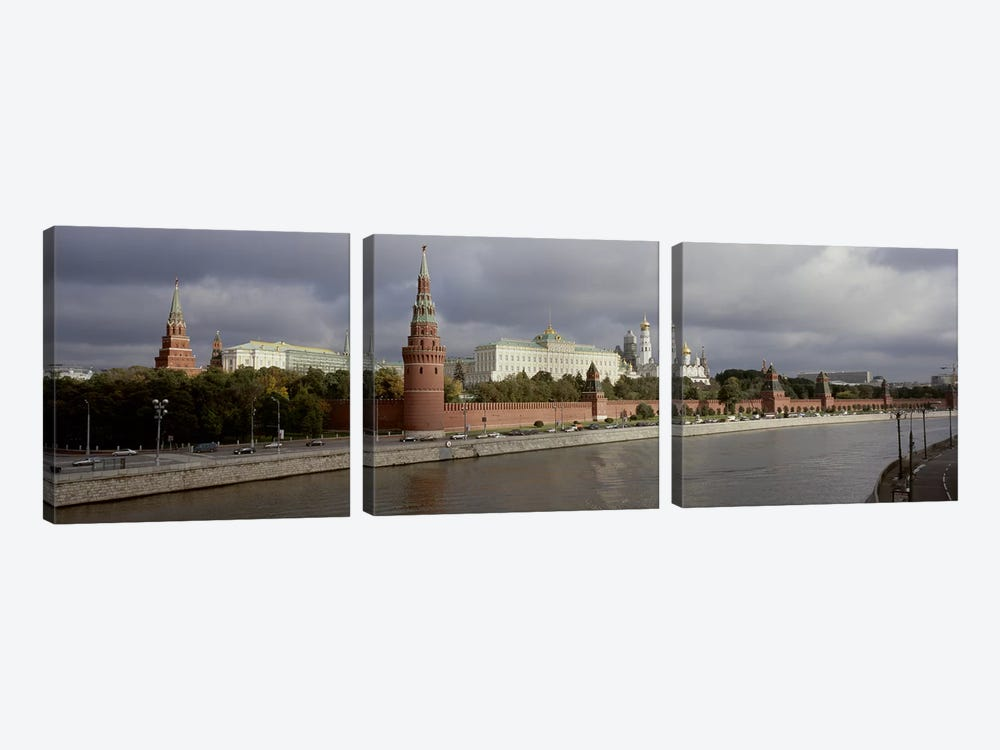 Buildings along a river, Grand Kremlin Palace, Moskva River, Moscow, Russia by Panoramic Images 3-piece Canvas Print